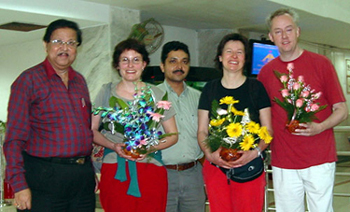 Dr. Sekhar Chattopadyay and Dr. Tapas Jana at the airport with Calcutta Project members
